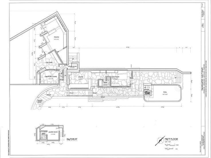 Basement Amp First Floor Plans Fallingwater Guest House State Falling Water  Plan | Falling Water | Pinterest | Falling Waters, Guest Houses And Building