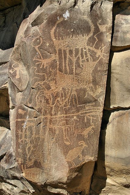 The petroglyphs are in Legend Rock State Park, Wyoming, USA.
