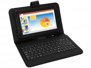 "Tablet Multilaser M7S 8GB Tela 7"" Wi-Fi Android - 4.4 Proc. Quad Core Câm. 2MP + Frontal com Teclado"