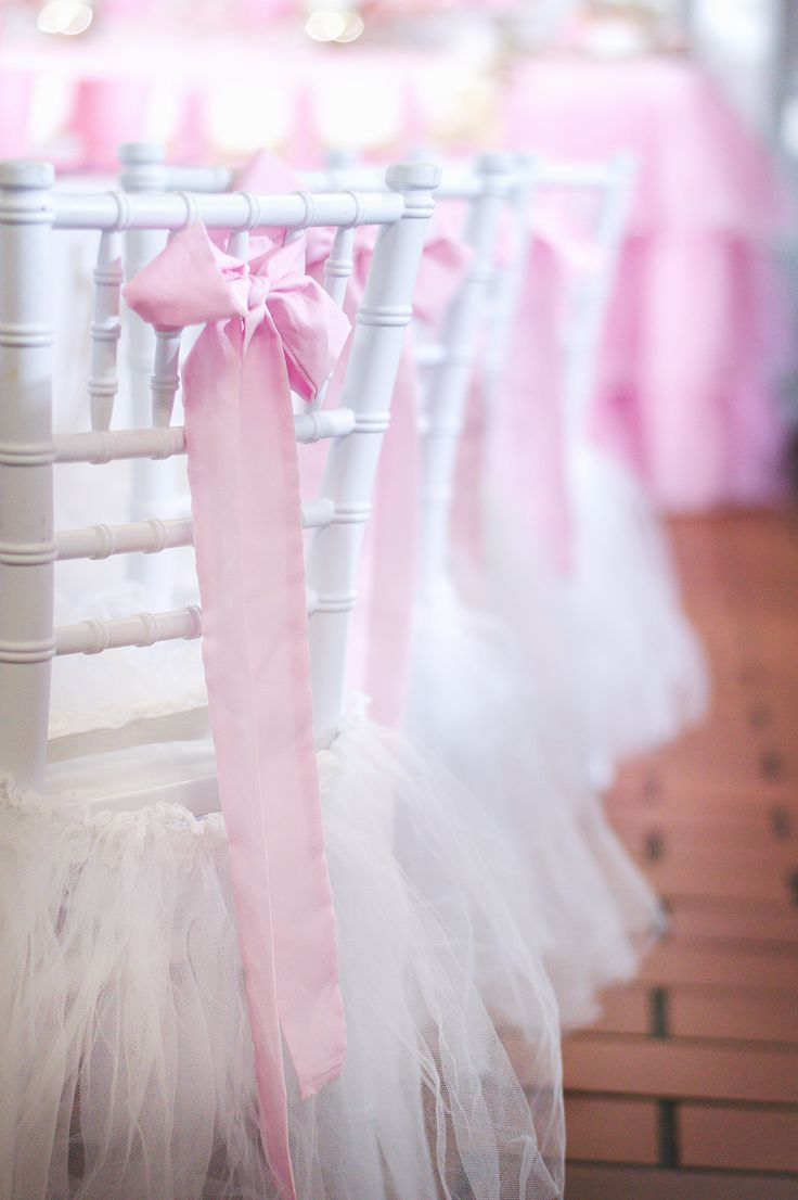 tutu chairs, first birthday party, princess themed decor