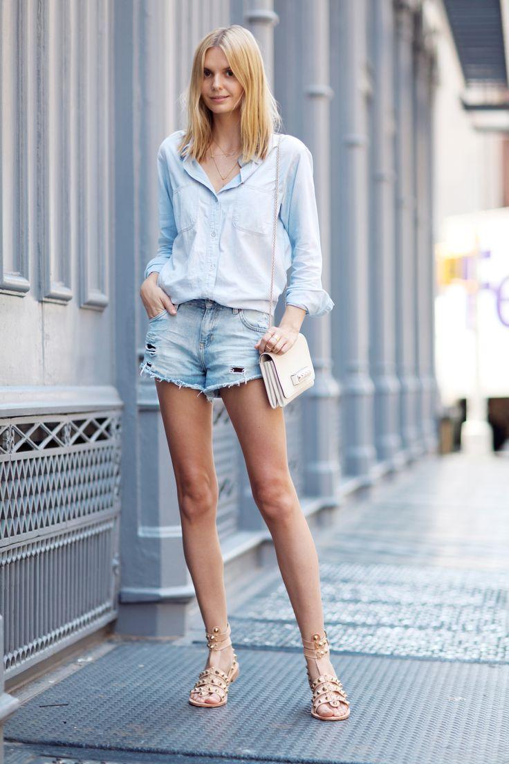 denim shirt + denim shorts + golden jewellery + cream purse + cream sandals