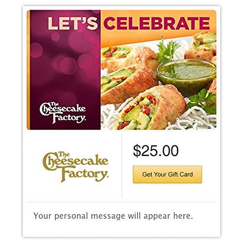 The Cheesecake Factory Lets Celebrate Gift Cards  Email Delivery *** Visit the image link more details. Note:It is affiliate link to Amazon.