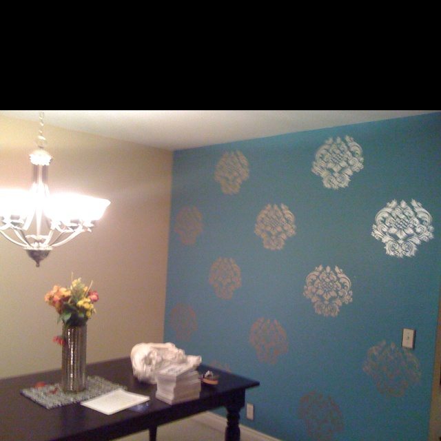 Robin Egg Blue Bedroom Ideas: Robins Egg Blue With Hand Painted Silver Damask ( Stencil
