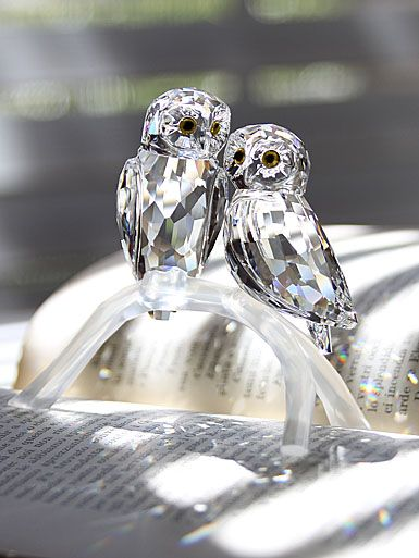 Swarovski Owls, crystal and trop chere