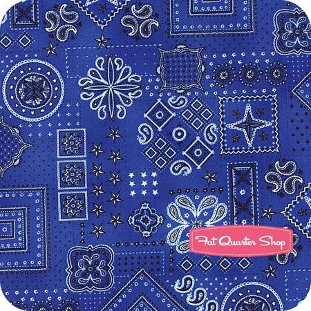 American Beauty Blue Bandana Print Yardage SKU# 9607-77