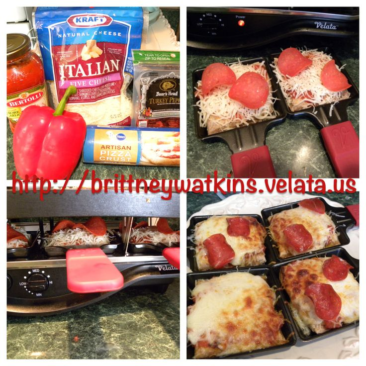 Mini Pizza using the Velata Raclette. Best thing is that everyone and choose their toppings and you can cook 8 mini pizza at a time.