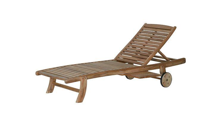 Rollliege Newport, naturfarbenes Teakholz - Länge ca. 197 cm, in Massivholz Modern Trend Landhaus Klassisch, aus Holz, in Holzfarben Hell,das fröhliche m Saarlouis