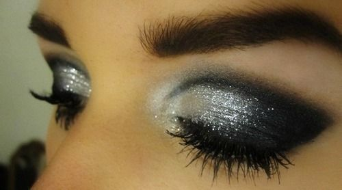 Shimmery silver and black smokey eye: Eye Makeup, Eye Shadows, Dark Eye, Dramatic Eye, Eyeshadows, Eyemakeup, New Years Eve, Smokey Eye, Glitter Eye