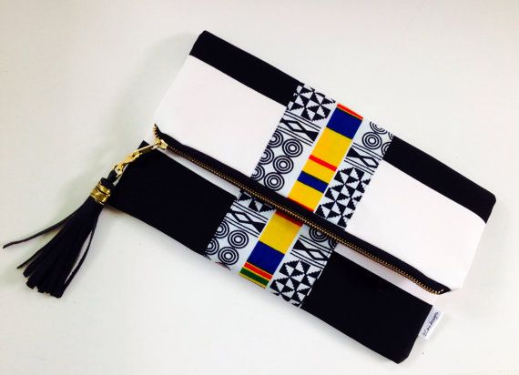 Black and White Clutch Stripe Foldover Clutch Bag by 2chicdesigns
