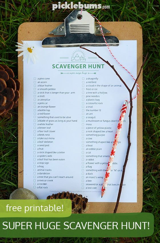 Free printable super, mega, huge scavenger hunt! Now you have no excuse not to…