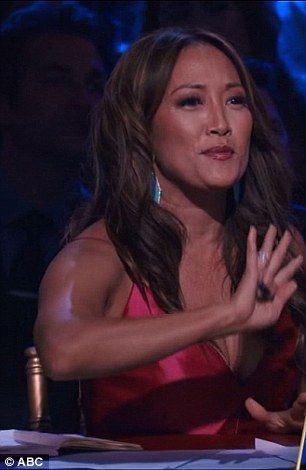 'Back off': Carrie Ann Inaba was giving her critique, left, when a man rushed…