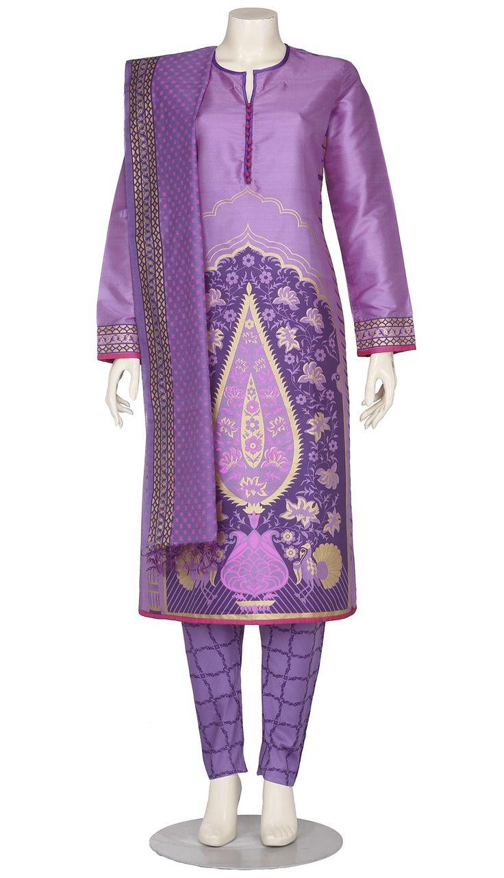 Light Purple Printed Silk Shalwar Kameez Set