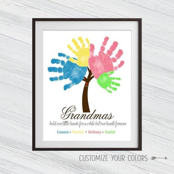 Grandmother gift idea sibling wall art handprint art