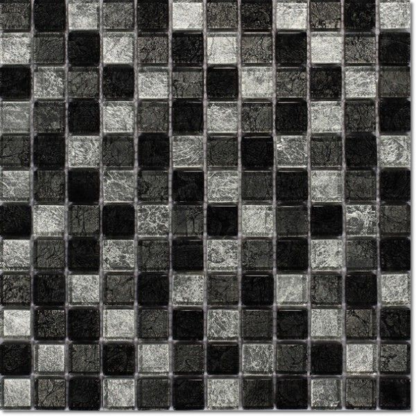 Dell'Arte - mozaiki dekoracyjne Brillant Silver Black 23 (plaster 30x30)