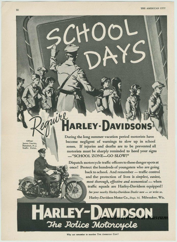 This 1936 ad is really interesting - what a unique combination: elementary school and Harley Davidson! (Hoboken Historical Museum)