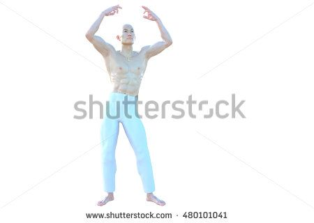 One muscular and bald Asian male. Standing showing his muscles. His hands are open. 3D rendering, 3D illustration