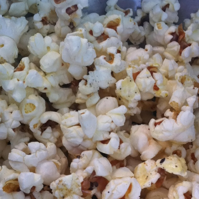 Day 4-stove top popcorn snack  Butter, spike seasoning , sea salt , fresh ground pepper, garlic powder. Mix well. Yummy!!