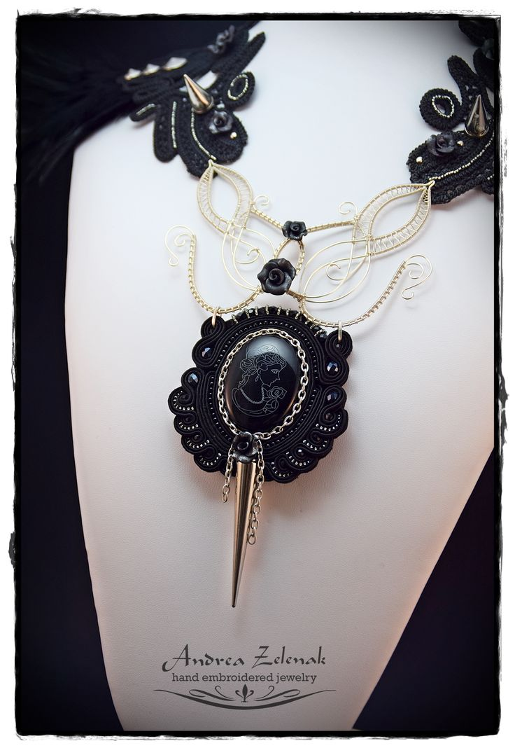 """Gothic Punk"" - mix media necklace (macrame, soutache, wire wrapping) Andrea Zelenak"