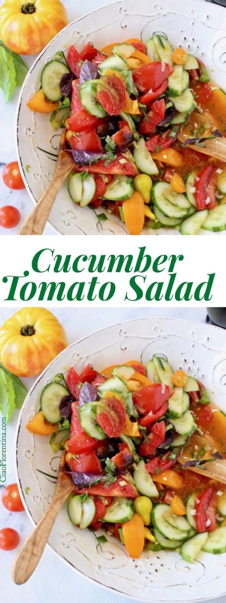 Cucumber Tomato Salad Recipe Video with Olive Oil and Vinegar | CiaoFlorentina.com @CiaoFlorentina
