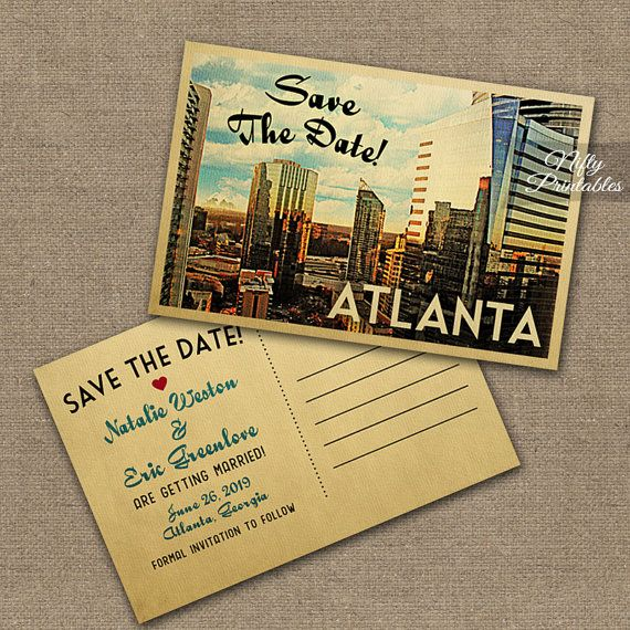 Atlanta Save The Date Postcards - Printable Atlanta Georgia Postcard - Retro Atlanta Skyline Save The Date Cards VTW