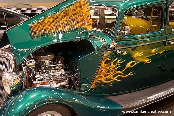 Vintage Green Aqua with Flames Hot Rod