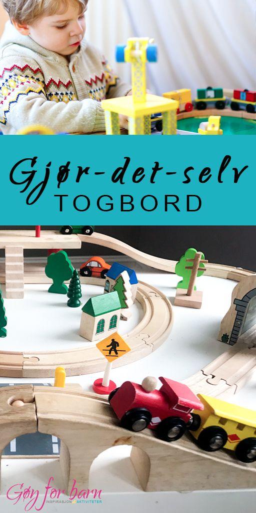 Lag et togbord for barn!  Denne type lek er perfekt for å utvikle fantasi- og finmotoriske ferdigheter. Bordet er lavt, slik at barna kan leke mens de står, og togskinnene er limt fast til bordet, slik at de ikke kan rives ned.