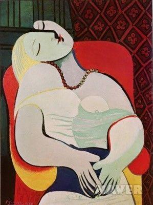 //// 파블로 피카소 <꿈> -1932년 제작 //// 피카소가 22살의 프랑스 여인 마리 테레즈의 모습을 화폭에 담아낸 작품이다. 당시 50세였던 피카소는 기혼 상태였지만 작품에는 그가 마리 테레즈에게 느꼈던 성적 매력이 뚝뚝 묻어나있다. 실제로 그녀는 2년뒤에 피카소의 아이를 임신했다고 한다. 이 작품에 있어서 한 어린 여인의 꿈꾸는 모습, 잠든 모습이 피카소에게 뮤즈가 된 셈이다. 꿈은 그 자체로도 모티브가 되기도 하지만 이처럼 꿈꾸는 사람 자체가 모티브가 되기도 한다. 아마 사람이 잠들어 꿈을 꾸고 있을 때 가장 무방비하면서도 순수한 모습이기 때문일 것이다.(댓글에서 계속)