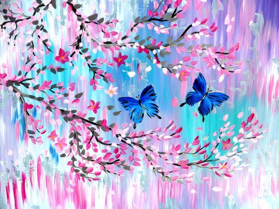 Japanese Cherry Blossom Butterfly Art Butterfly Gift Butterfly Gifts Butterfly Painting Butterfly Paintings Painting In Pastel Colours Cherry Blossom Painting Cherry Blossom Drawing Butterfly Painting