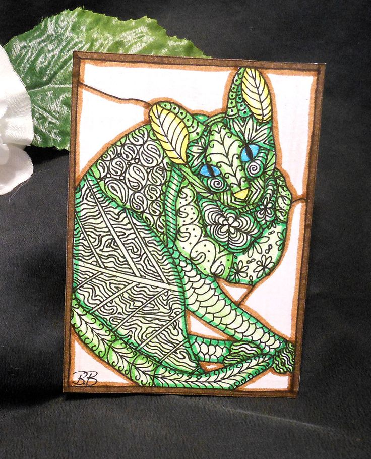"""1 art card ACEO """"Mother Earth's Cat"""" Briana Blair Wichita Falls, TX April 21, 2015 Tangle pattern in gel pen, markers and colored pencils on hand-cut white card stock by Briana Blair Official 2.5 x 3.5″ size Signed original Each…"""