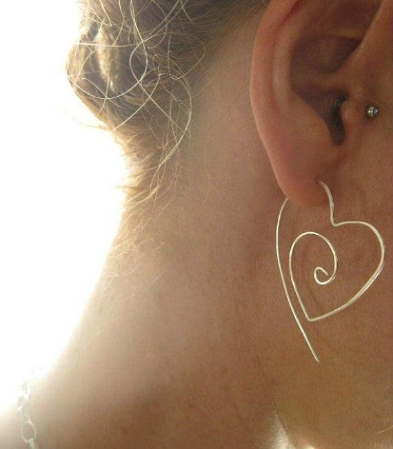 Sterling Silver Tribal Heart Hoop Earrings,  Romantic Organic Hoops, engagements, anniversary, Valentines Day