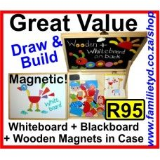Magnetic Drawing & Pattern suitcase ~ wooden, A4 size. Make pictures on the magnetic Whiteboard and Blackboard using the wooden magnets. Includes dry-wipe marker for whiteboard and chalk for blackboard. Very affordable!