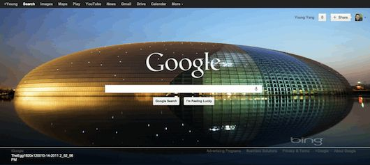 As default, the Google homepage background is white without any image, but you can add one with the following 2 ways:    http://freenuts.com/how-to-change-google-homepage-background-image/