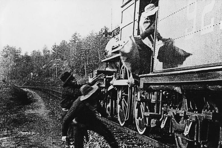 The Great Train Robbery is a 1903 American silent short Western film written, produced, and directed by Edwin S. Porter, a former Edison Studios cameraman. Actors in the movie included Alfred C. Abadie, Broncho Billy Anderson and Justus D. Barnes, although there were no credits.At twelve minutes long, The Great Train Robbery film is considered a milestone in film making, expanding on Porter's previous work Life of an American Fireman.