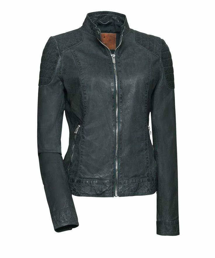 leer dames vrouwen leren jas goosecraft jacket biker biker128 khaki groen voorkant