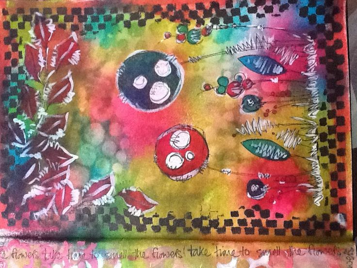 Journal page, using JOFY stamps, dylusion sprays and stencils.