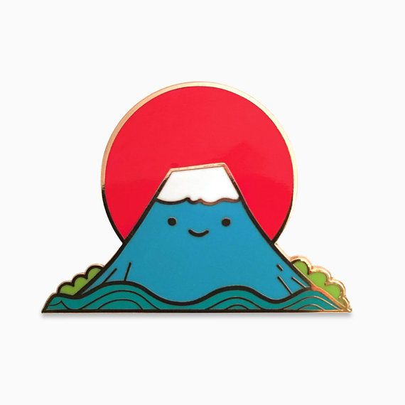 Wear a little Fuji-san everyday! Japans tallest mountain is now a tiny peak on your collar. Limited edition lapel pin by Magic Pony. • 1.85 hard enamel pin • Rose gold metal mold • 2.5mm thick • Rubber pin back Each Magic Pony pin is stamped from plated brass, hand-filled with colored resin, cooked until hard, and then sanded down and polished by hand until smooth and lustrous. Small differences and imperfections are normal in our pins due to the nature of their production.