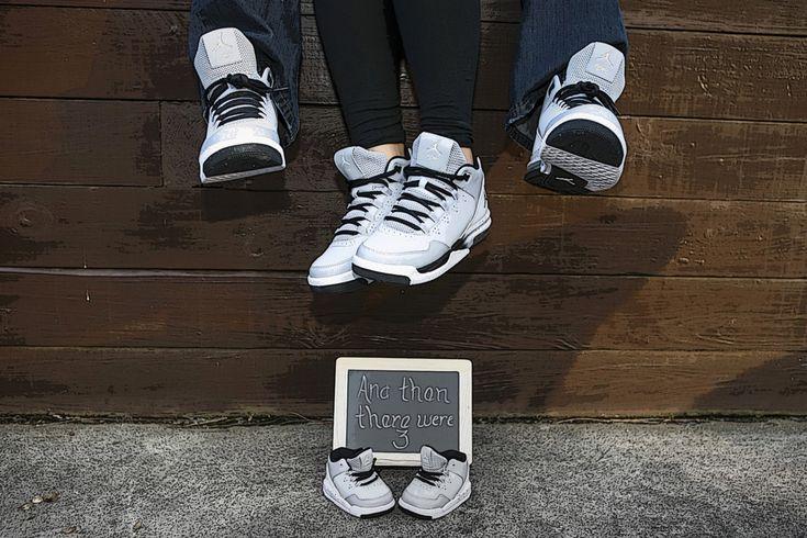 Pregnancy Announcement with matching Jordan Flight shoes