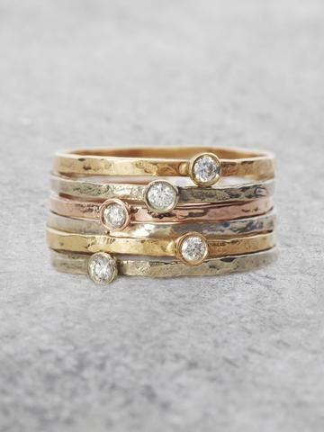 Solitaire Diamond Stacking Rings More