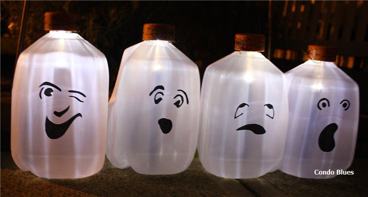 How to Make Solar Milk Jug Ghost Luminaries from Condo Blues