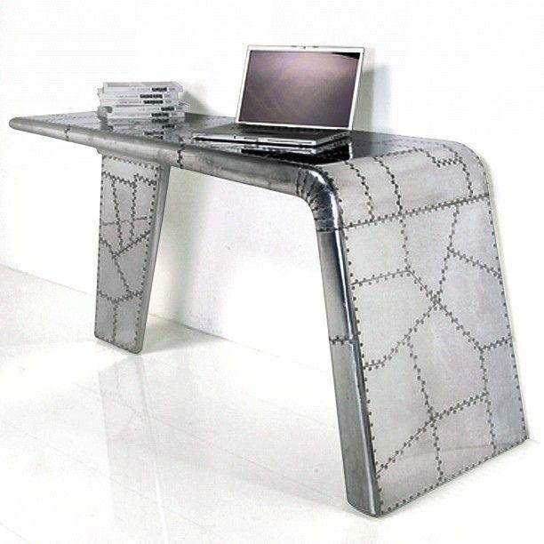 Alu patchwork desk buro airplane design wing work - Industrial style buro ...