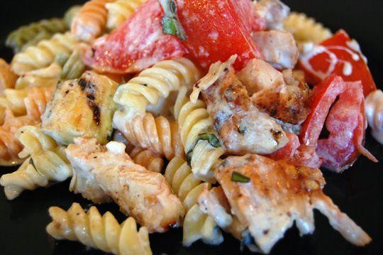 Garden rotini w/grilled zucchini & chicken...eatathomecooks.com
