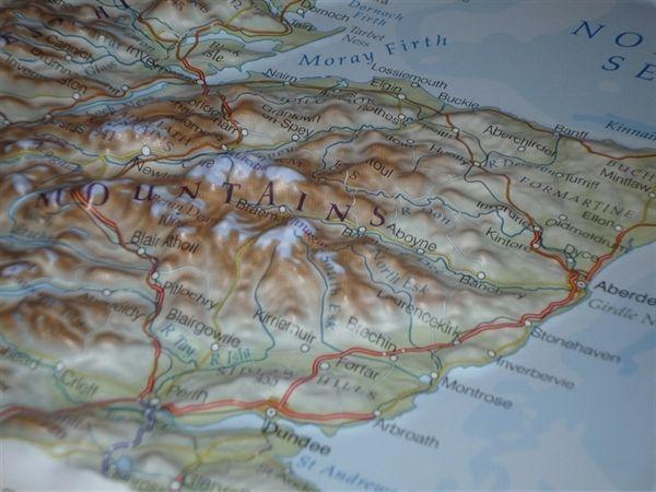 Framed Northern Scotland Raised Relief Map | Карта, Природа
