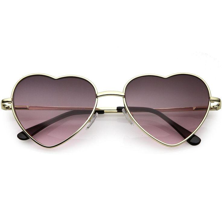 Small Thin Metal Heart Shaped Frame Cupid Sunglasses