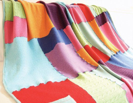 Recycled cashmere baby blanket - excellent idea for moth-damaged sweaters!