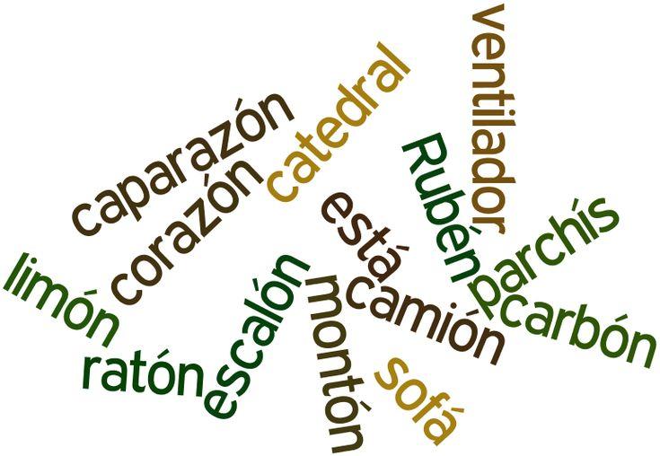 ... Ejemplos de palabras agudas con tilde.