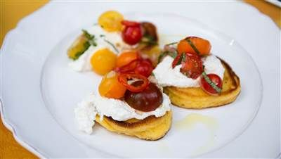 Bobby Flay's Johnnycakes with Ricotta, Tomatoes and Chiles - TODAY.com