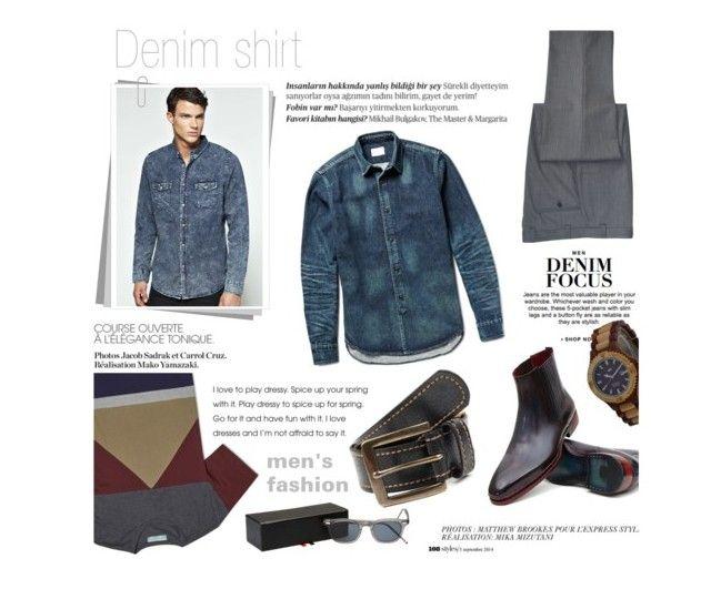 """Denim shirt"" by zayngirl1dlove ❤ liked on Polyvore featuring moda, Balmain, Ralph Lauren, Anja, H&M, Simon Miller y Thom Browne"