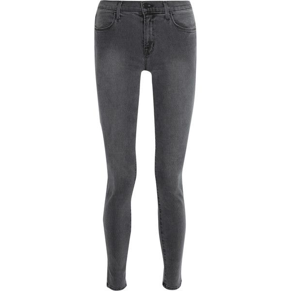 J Brand 620 Photo Ready mid-rise skinny jeans ($345) ❤ liked on Polyvore featuring jeans, pants, bottoms, j brand, grey, skinny fit jeans, mid rise skinny jeans, mid-rise jeans, gray jeans and stretchy skinny jeans