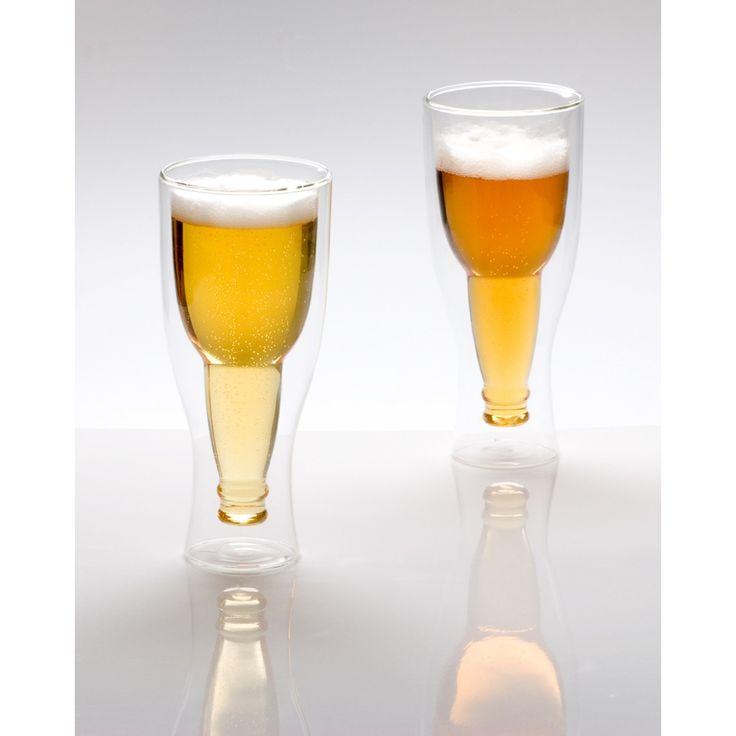 Leuk bierglas in de vorm van een bierfles!