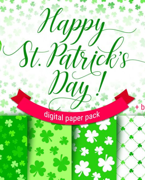 Digital paper pack Happy St. PATRICK'S DAY, green clover backgrounds. 6 JPG seamless patterns